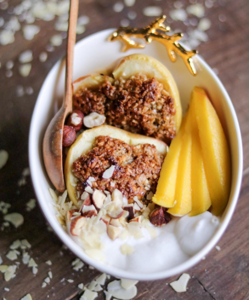 Blog  Gluten free Nut Crumble served in an Apple