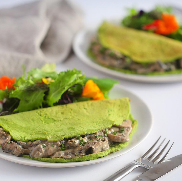 Blog  SPINACH CREPES WITH CREAMY MUSHROOMS