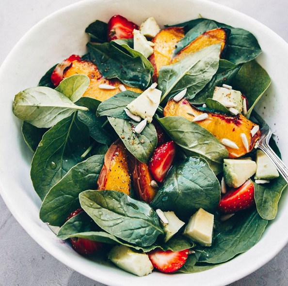 Blog  Spinach Salad with Strawberries and Roasted Peaches