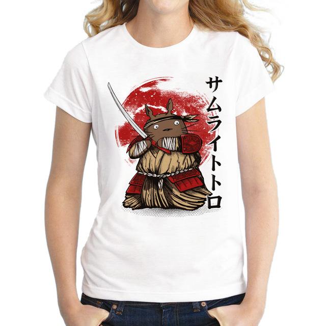 2017-Summer-Fashion-Women-T-Shirts-Totoro-Samurai-Printed-T-Shirts-Casual-Slim-Top-Feminine-Short