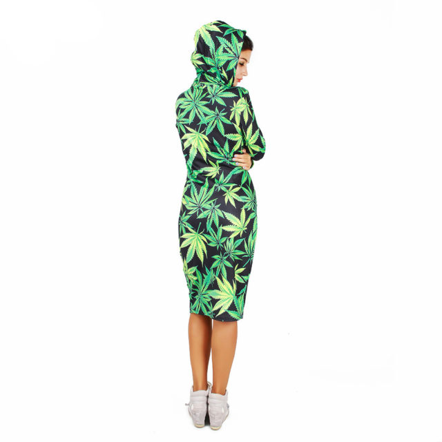 Joyonly 2018 Women 3D Print Dress Green Weed Brand Design Hooded Dresses Pullovers Hoodies Long Sweatshirt Clothing With Pocket