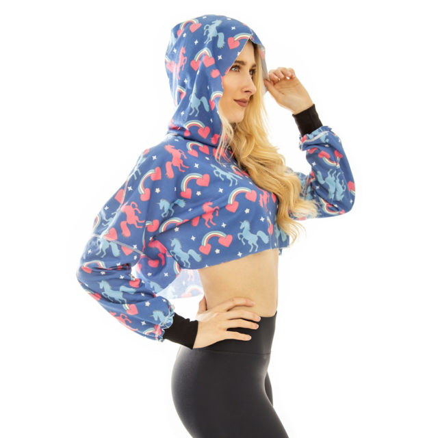 Zohra Fashion Women Hooded Outwear Blue Unicorn Printing Sexy Short Pullover Stitching Casual Navel Cropped Hoodies Sweatshirt
