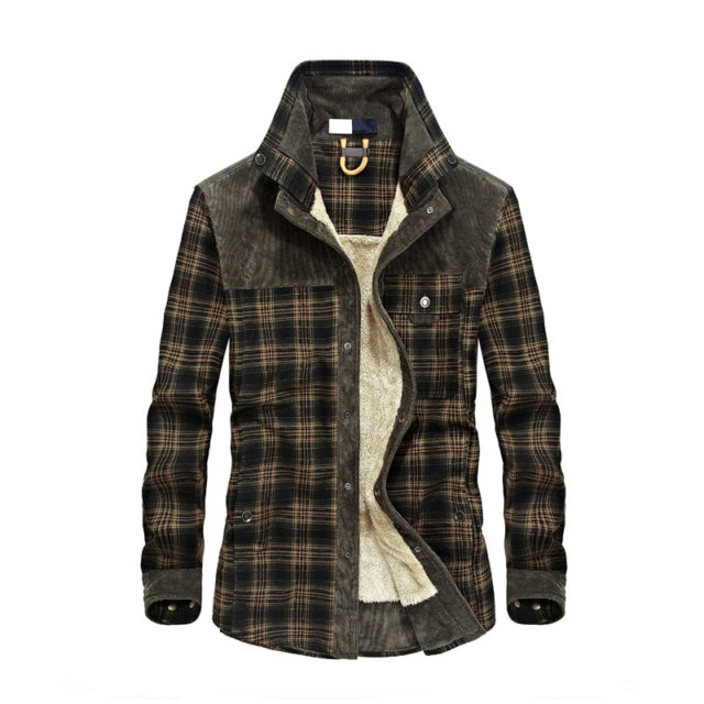 2018 New Men 100% Cotton Liner Casual Shirts Outerwear Plaid Thick Wool Liner Autumn Winter Shirt