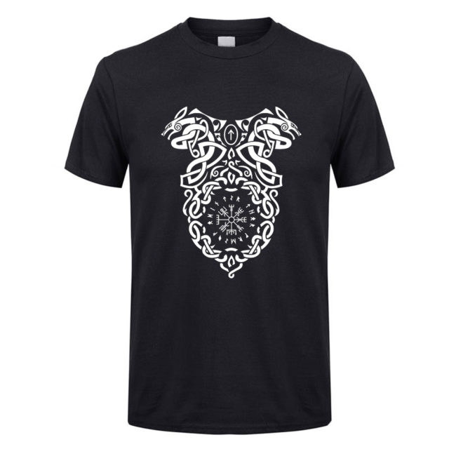 Fashion T-Shirt Vikings Berserker Vegvisir Knoten Wikinger Men Round Neck Short Sleeve Tshirt Discount Youth Tees 100% Cotton