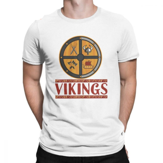 Vikings Helmet Sword Ship Odin Gods T Shirt Men Cotton Casual T-Shirts Crew Neck Tees Short Sleeve Plus Size Clothing Gift