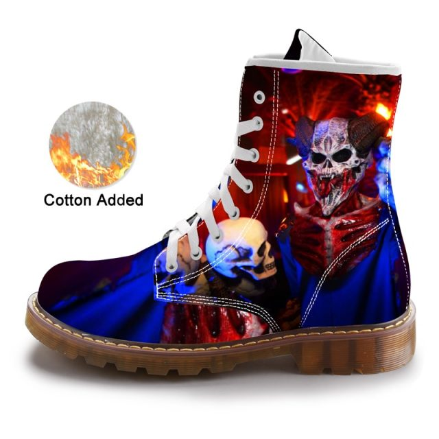 Unisex Street Sneaker Fashion Mid-Calf Boots Men Martins Black Skull Shoes Cotton Spring Mens Warm Cuctom Prtined Casual Boots
