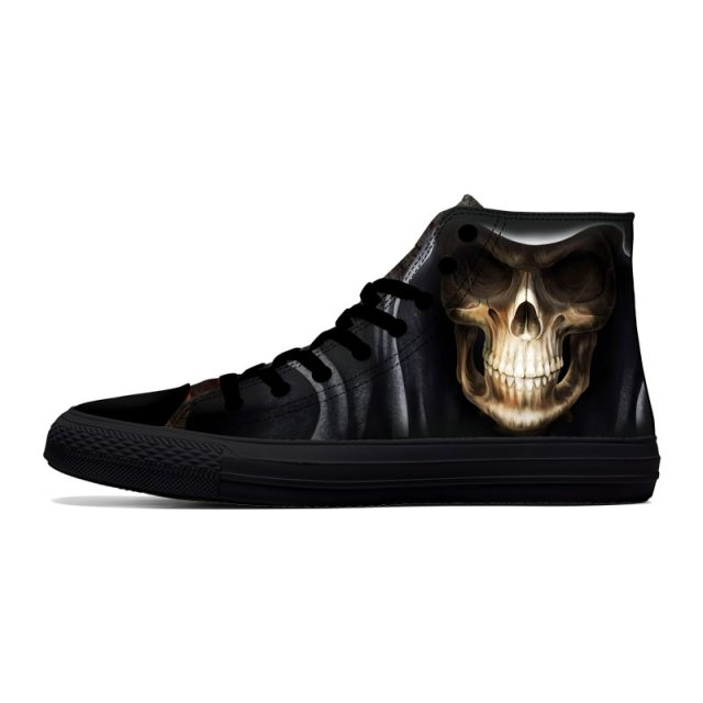 FIRST DANCE Casual Black Punk Skull High Top Shoes Men Classic High Canvas Shoes Fashion 3D Street Nice Printed Casual Shoes Men