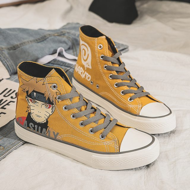 naruto Shoes Woman Sneakers Fashion Canvas Shoes Men Trainers Women Ladies Yellow black Shoe Zapatos Mujer Naruto Naruto shoes