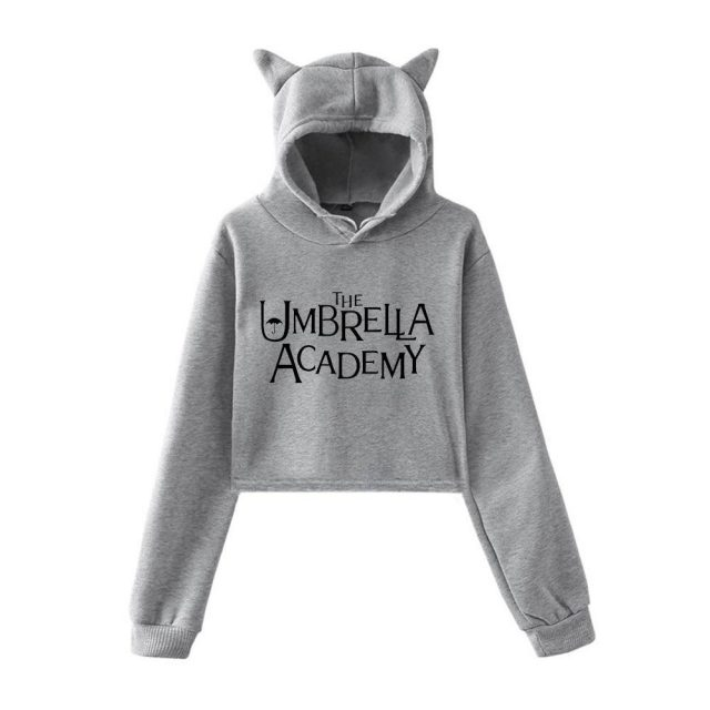 The Umbrella Academy Crop Hoodie Sweatshirts Women Cat Pullover Girl Kawaii Harajuku Tracksuit