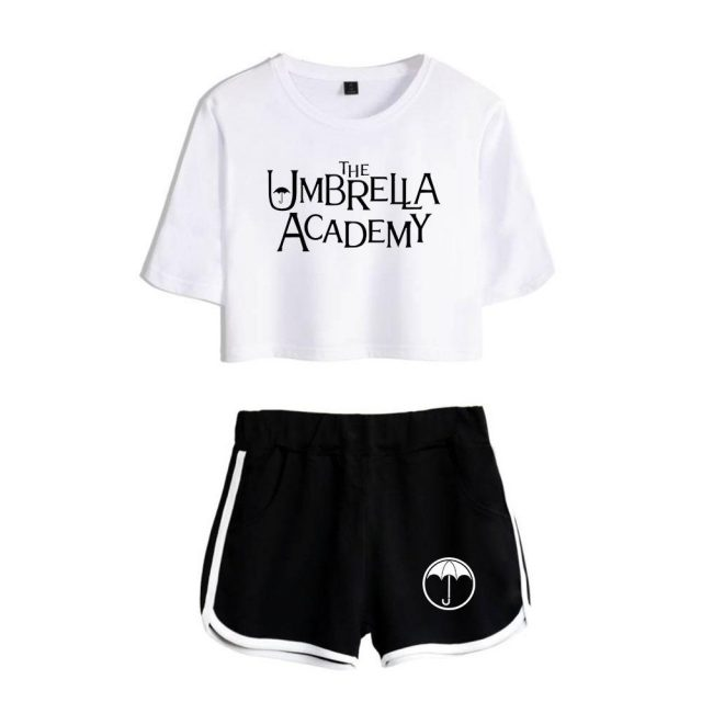 The Umbrella Academy Women Two Piece Set Shorts+lovely T-shirt Harajuku Streetwear Hot Girl Sets
